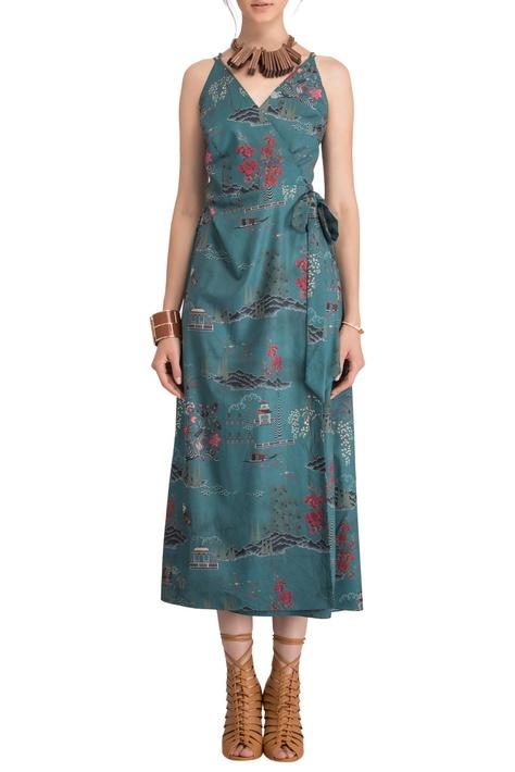 Green wrap style midi dress