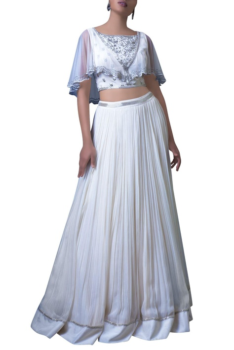 White embellished cape blouse and skirt