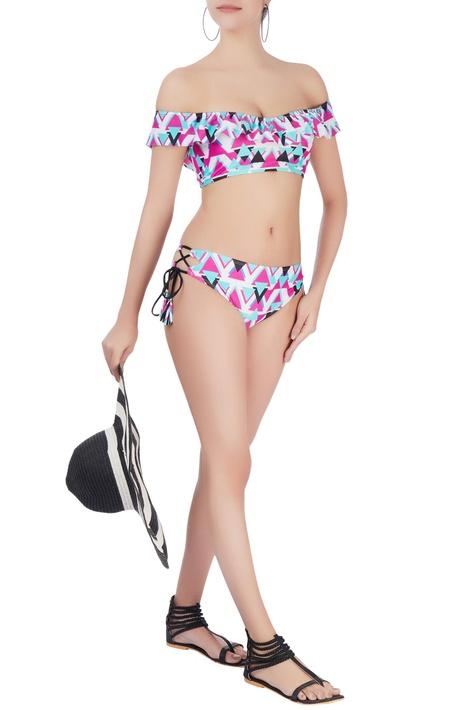 Pink off shoulder bikini set