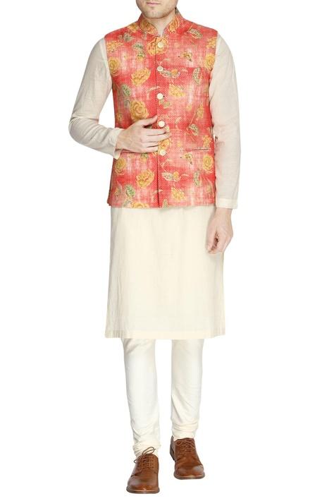 White & orange floral print kurta set