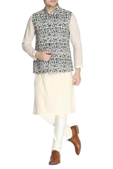 Multicolored printed nehru jacket set