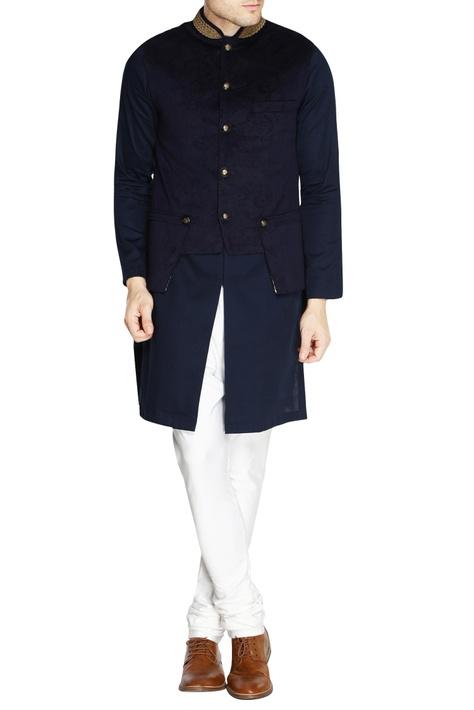 Navy blue velvet nehru jacket set