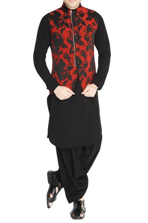 Black & red jacquard jacket set