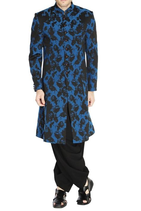 Black & blue floral sherwani