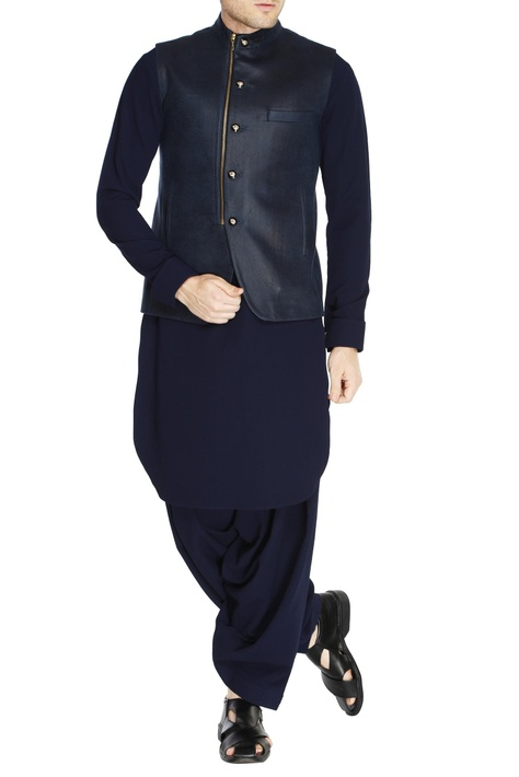 Blue zipper style nehru jacket set