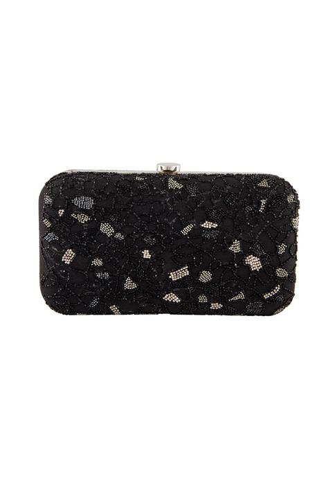 Black bead embellished clutch