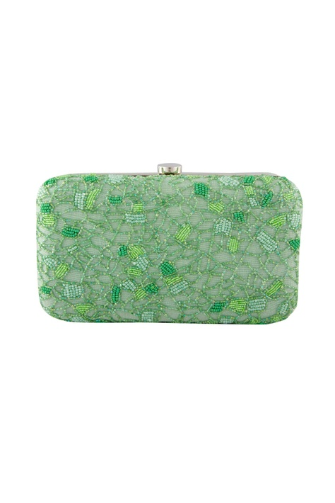 Green bead embellished clutch