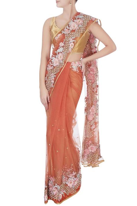 Peach floral embroidered sari