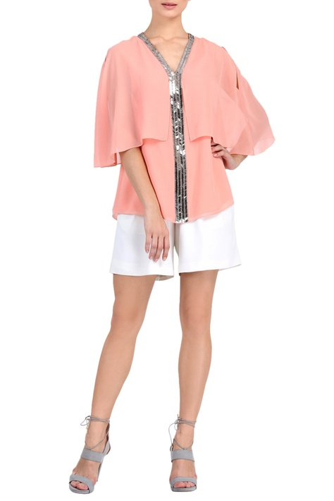 Baby pink embellished top