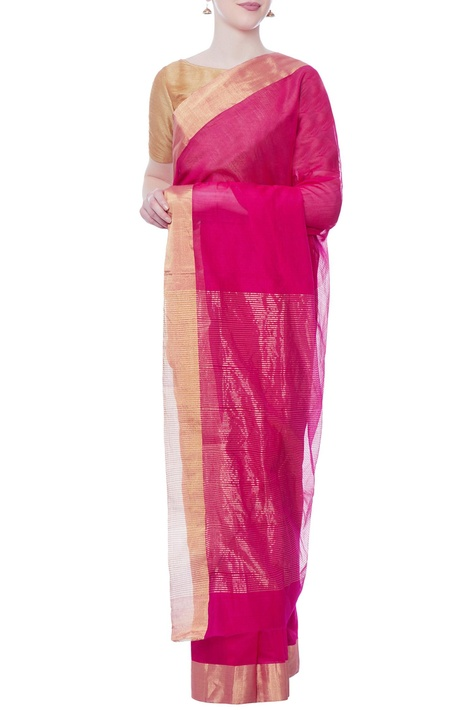 Red sari with gold zari work