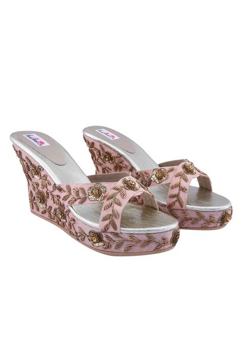 Pink kundan wedge heels