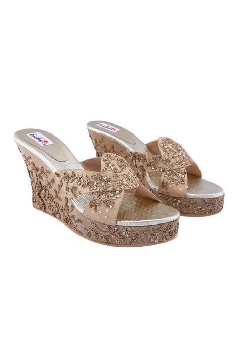 Beige & gold bridal wedge heels