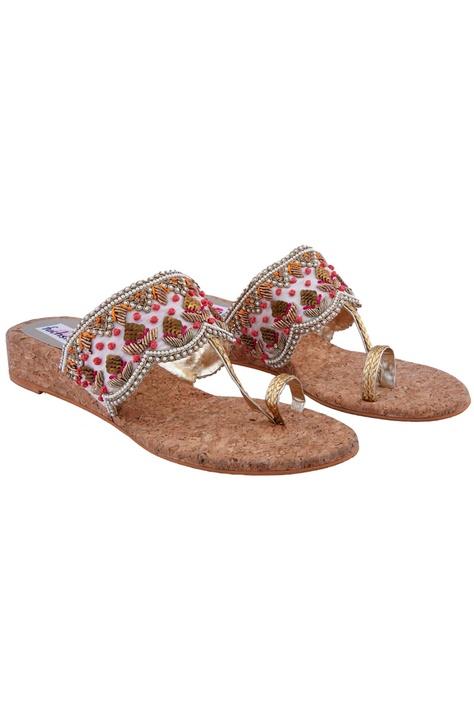 Multicolored embellished kolhapuri sandals