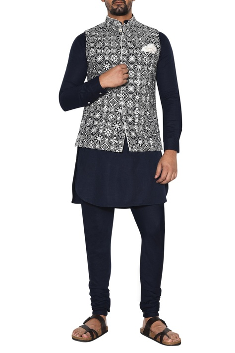 Blue & white embroidered jacket set