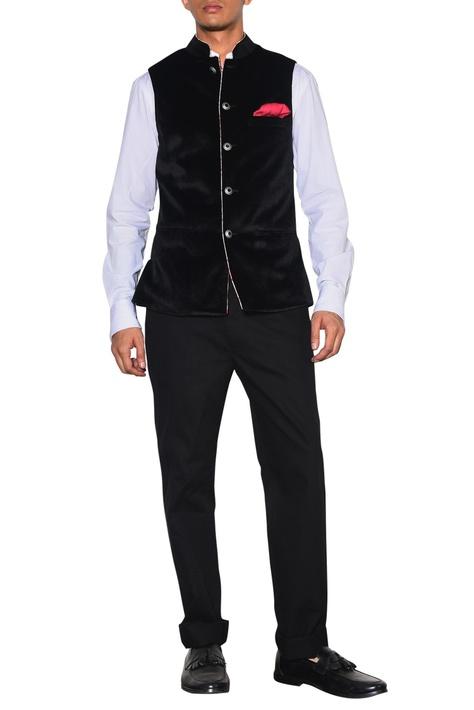 Black velvet nehru jacket