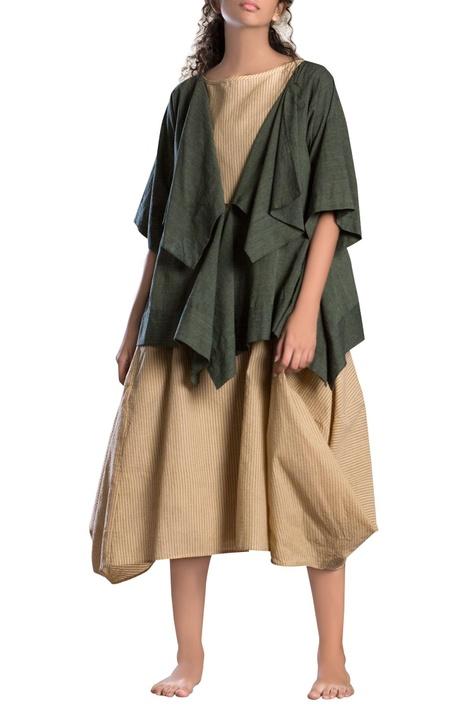 Military green draped short jacket