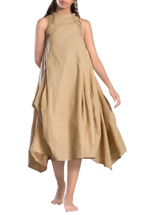 Brown striped paneled asymmetrical dress