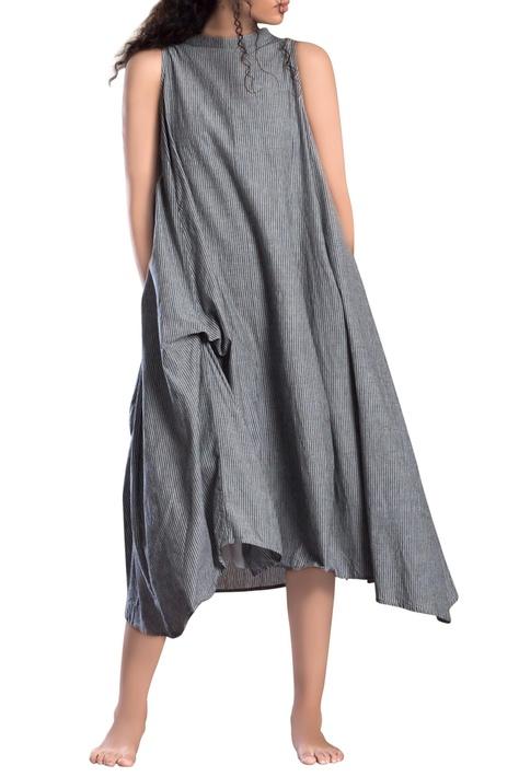 Grey striped paneled asymmetrical dress