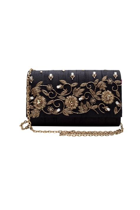 Black zardozi embroidered clutch