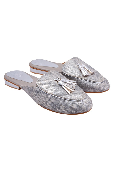Silver snake embossed leather mules