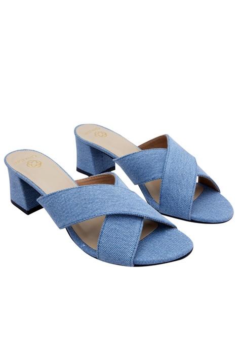 Sky blue denim criss-cross sandals
