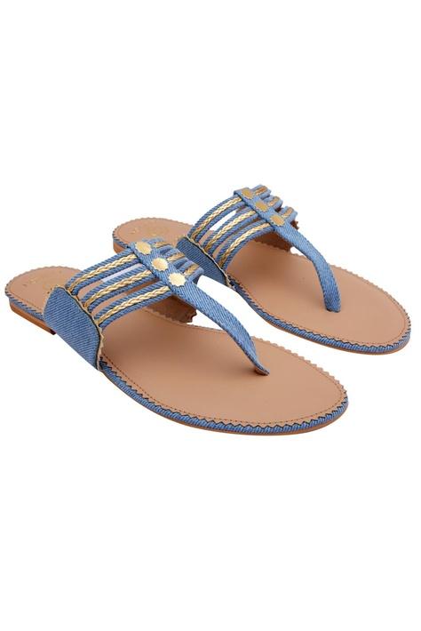Blue & gold kolhapuri sandals