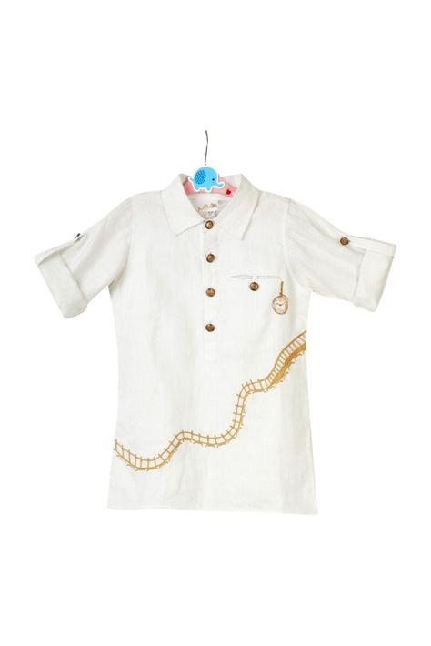 White button down shirt & printed pants