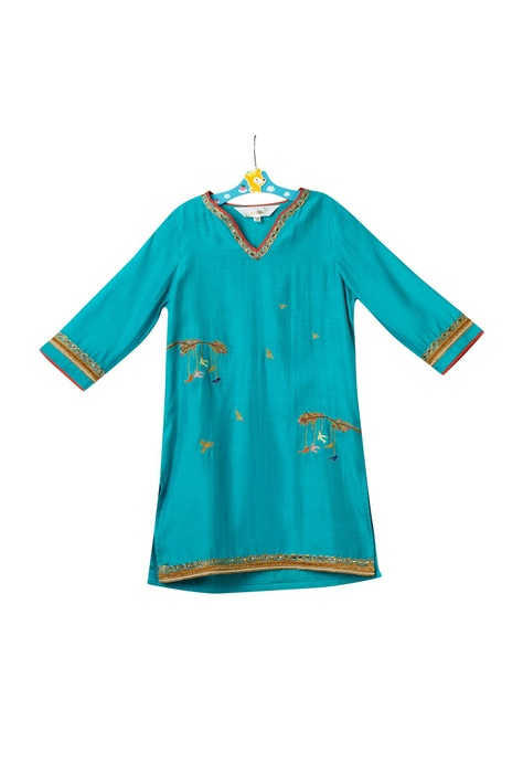 Blue cotton silk kurta set