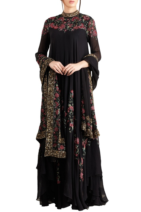 Black & pink floral bead & sequin embroidered kurta set