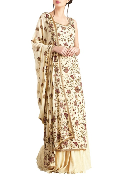Yellow sequin embellished chiffon kurta set