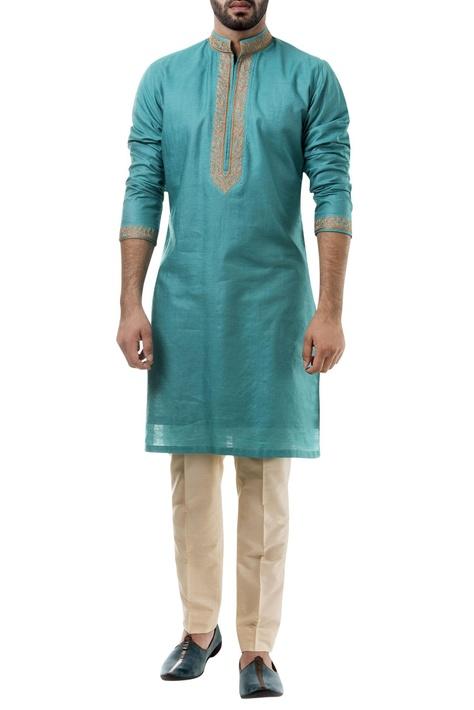 Blue silk thread work kurta with pants