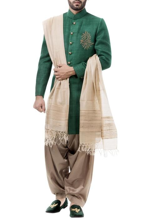 Forest green silk zardozi achkan with salwar