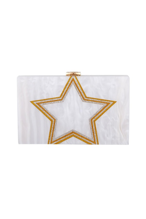 White & gold acrylic starlight clutch bag