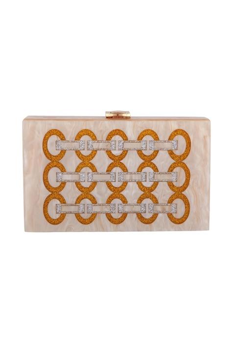 Gold & silver acrylic link design clutch bag