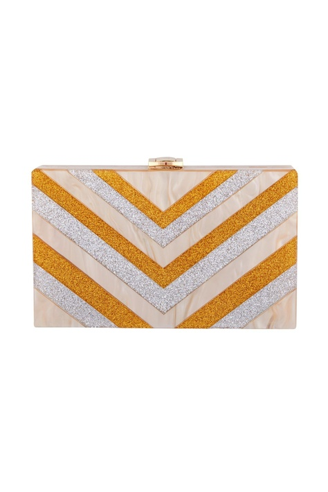 Silver & gold acrylic abstract design clutch bag