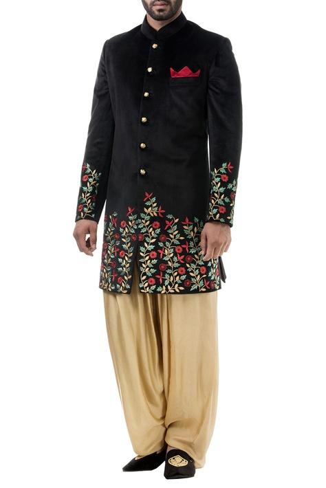 Black floral resham jaal achkan with salwar