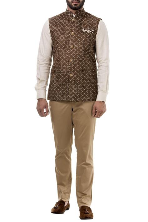 Brown suede thread work nehru jacket