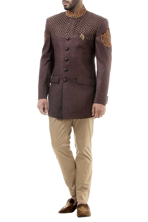 Brown hand embroidered silk bandhgala with trousers