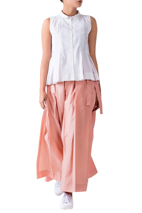 Pink cotton poplin pleated pants