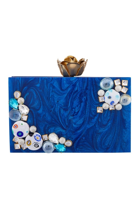 Blue acrylic bejeweled clutch
