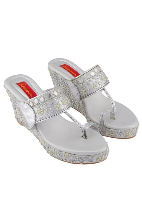 Silver moti stone embellished & gold faux leather wedges