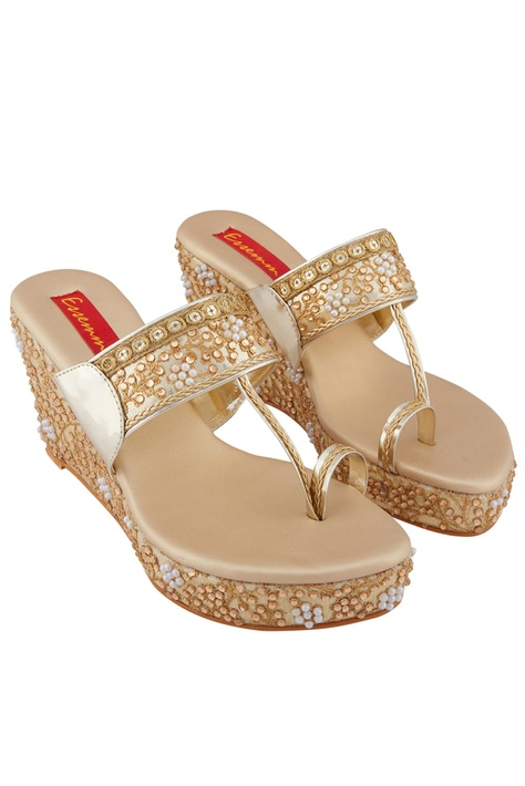 Gold moti pearl 3-inch wedge heels