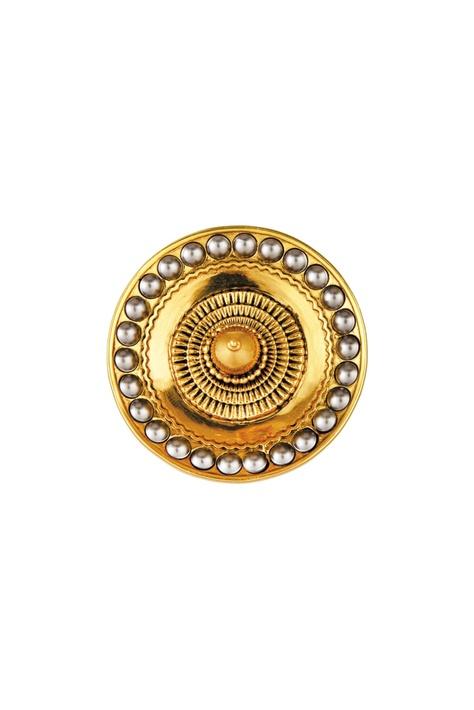 Gold plated JJ Valaya ranas of kutch disc stud earrings