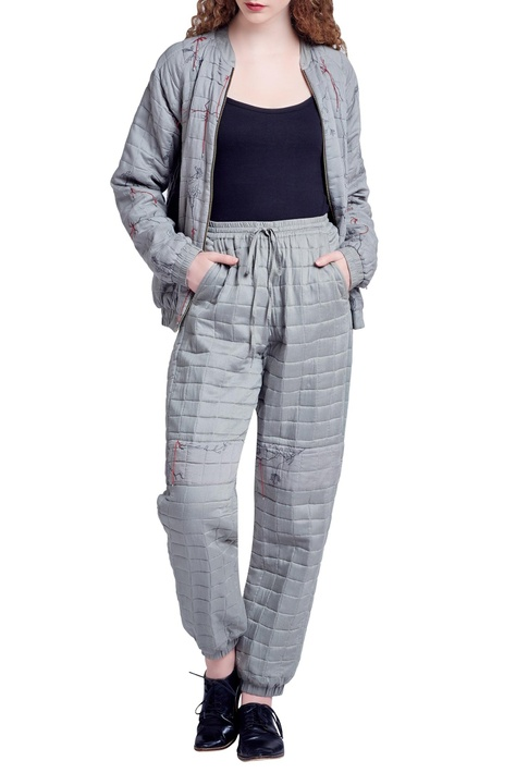 Grey quilted jogger pants