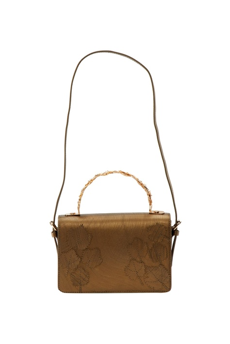 Metallic bronze leaf motif clutch with detachable strap