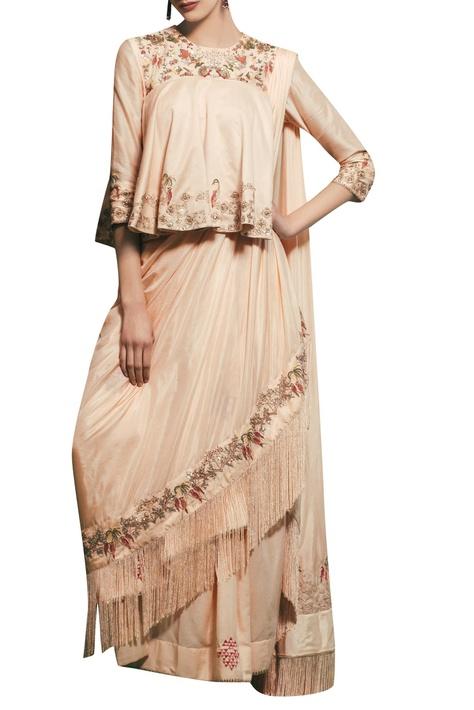 Peach chanderi & silk  hand embroidered draped saree with peplum blouse