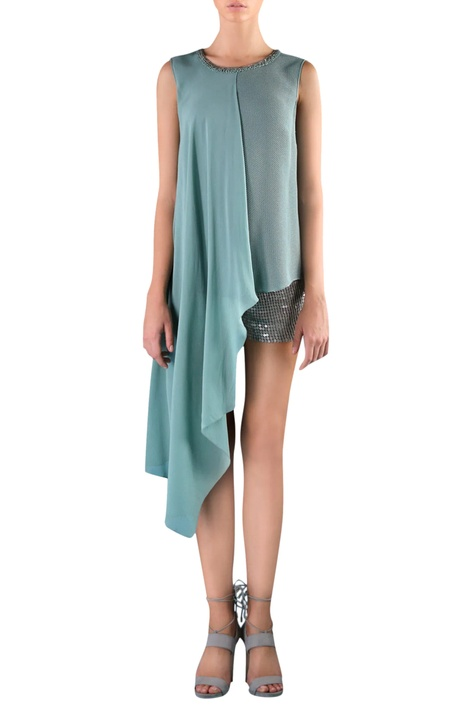 Pine grey viscose embellished asymmetric blouse