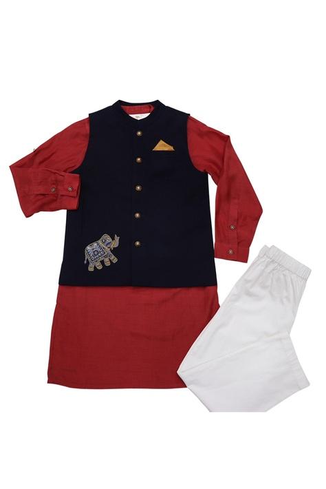 Navy blue & red cotton elephant motif bandi with cotton silk kurta & poplin pyajama