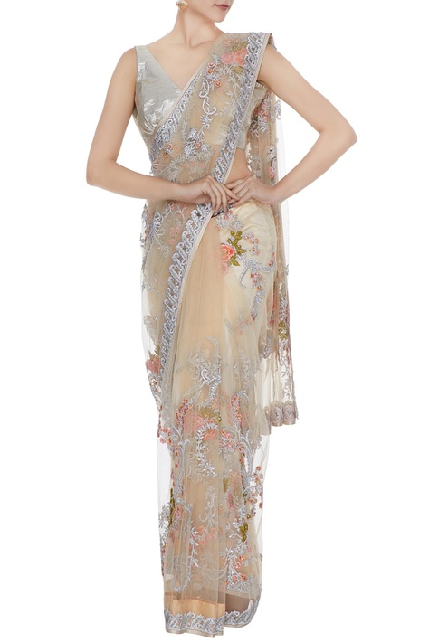 Peach floral jaal embroidered saree
