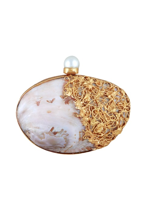 Multicolored mother of pearl oval clutch with detachable chain